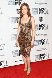 Carla Gugino paired gold platform pumps with her leopard-print dress for a bit of shimmer at the 'All is Lost' premiere.