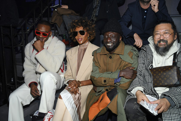 More Pics of Naomi Campbell Aviator Sunglasses (1 of 5) - Classic Sunglasses Lookbook - StyleBistro [event,fashion,front row,l-r,paris fashion week,show,louis vuitton menswear fall,louis vuitton,guest,naomi campbell,takashi murakami,skepta]