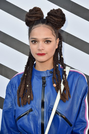 Sasha Lane's dreadlock pigtail buns stole the spotlight during the Louis Vuitton Spring 2017 show!