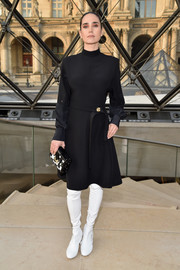 Jennifer Connelly kept it modest in a long-sleeve, high-neck LBD by Louis Vuitton during the label's fashion show.