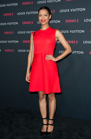 Gugu Mbatha-Raw teamed her frock with strappy black LV pumps, which were also seen on several other celebs that night.