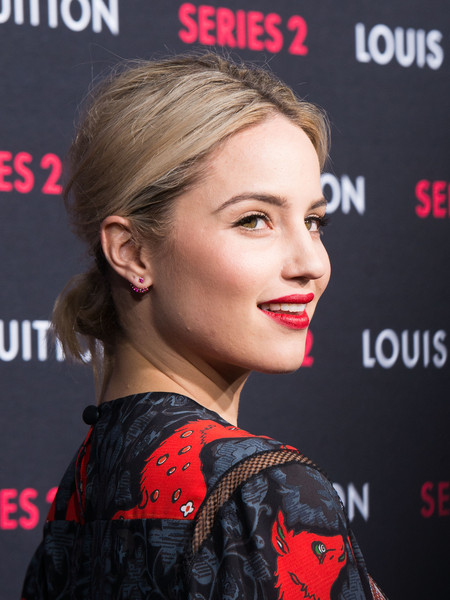 Dianna Agron pulled her hair back into an edgy chignon for the Louis Vuitton Series 2 exhibition.