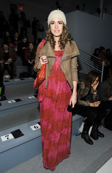 Louise Roe Maxi Dress [fashion model,fashion,runway,catwalk,fashion show,flooring,haute couture,textile,girl,fashion design,nanette lepore,louise roe,front row,lincoln center,new york city,the stage,mercedes-benz fashion week,fashion show]