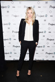Lily Donaldson went the masculine route in a black pantsuit during the Love Affair with World Oceans Day event.