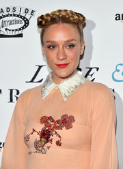 Chloe Sevigny rocked a braided crown updo for a milkmaid look at the 'Love & Friendship'' New York screening.