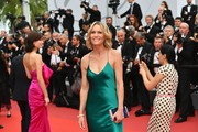 Robin Wright paired a blue Hayward velvet clutch with a green slip dress for the Cannes Film Festival screening of 'Loveless.'