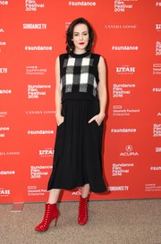 Jena Malone styled her frock with super-chic studded red ankle boots by Bionda Castana.