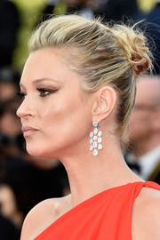 Kate Moss pulled her hair back into a loose, messy bun for the Cannes premiere of 'Loving.'