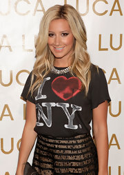 Ashley Tisdale was fun and flirty in a gradated grey crystal collar necklace at New York Fashion Week.