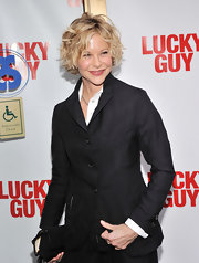 Meg Ryan looked chose a more classic look at the 'Lucky Guy' opening, when she sported this navy blazer.
