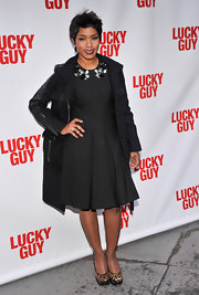 Angela Bassett chose this classic LBD with a full pleated skirt and an embellished neckline for her appearance at the 'Lucky Guy' premiere on Broadway.