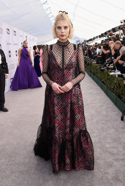 Lucy Boynton Print Dress [red carpet,clothing,fashion,fashion model,dress,haute couture,gown,lady,shoulder,a-line,flooring,lucy boynton,screen actors guild awards,screen actors\u00e2 guild awards,california,los angeles,the shrine auditorium]