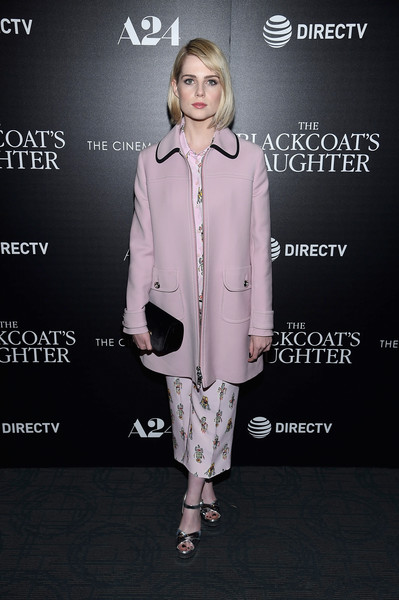 Lucy Boynton Platform Sandals [directv with the cinema society host a screening,the blackcoats daughter,clothing,fashion,fashion model,fashion design,footwear,outerwear,pantsuit,suit,street fashion,formal wear,arrivals,lucy boynton,new york city,a24,directv with the cinema society,screening,landmark sunshine cinema]