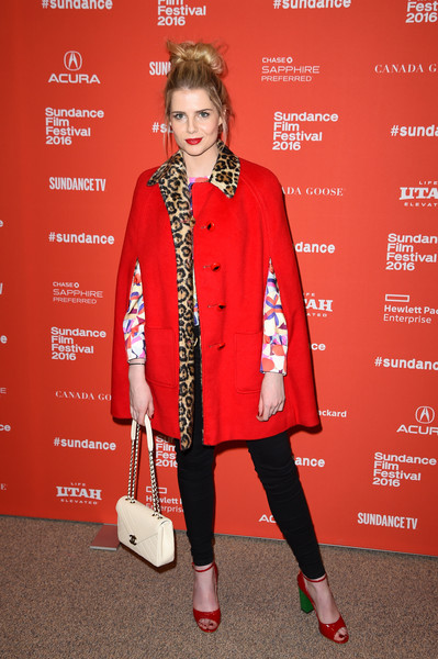 Lucy Boynton Quilted Leather Bag [lucy boynton,clothing,red,fashion model,fashion,outerwear,footwear,street fashion,fashion design,ankle,tights,sundance film festival,sing street premiere - arrivals,sing street premiere,utah,park city,eccles center theatre]