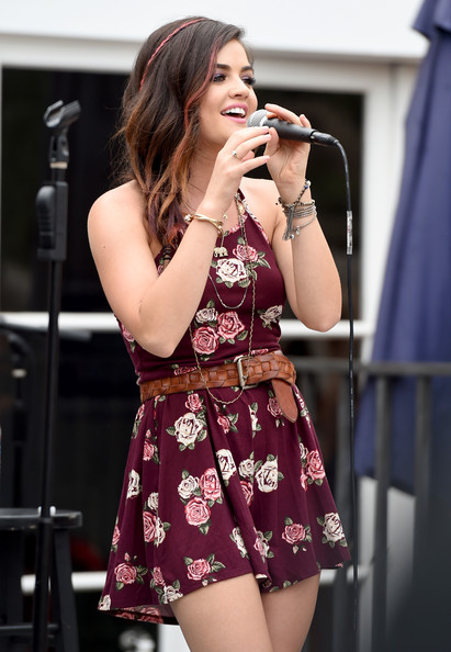 Lucy Hale Leather Belt [lucy hale,actress,performance,singing,entertainment,microphone,clothing,singer,performing arts,thigh,fashion,leg,hollister house,santa monica,california]