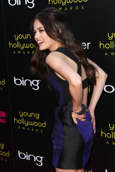 Lucy Hale Beaded Bracelet [clothing,dress,little black dress,premiere,cocktail dress,long hair,neck,black hair,style,fashion model,arrivals,lucy hale,young hollywood awards,club nokia,los angeles,california]