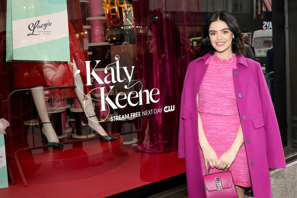More Pics of Lucy Hale Evening Pumps (1 of 10) - Heels Lookbook - StyleBistro [pink,clothing,magenta,boutique,fashion,formal wear,textile,fashion design,outerwear,dress,lucy hale celebrates katy keene windows,lucy hale,windows,saks fifth avenue,new york city,lucy hale,katy keene,the cw,saks fifth avenue windows,archie comics,photograph,style,saks fifth avenue,new riverdale,fashion]