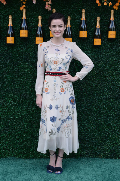 Lucy Hale Print Dress [clothing,dress,fashion,lady,carpet,flooring,fashion design,red carpet,formal wear,style,arrivals,lucy hale,jersey city,new jersey,liberty state park,veuve clicquot polo classic]