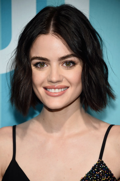 Lucy Hale Short Wavy Cut [cw,hair,eyebrow,beauty,hairstyle,human hair color,fashion model,chin,black hair,long hair,layered hair,new york city,lucy hale]