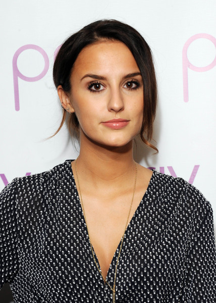 Lucy Watson Loose Bun [the launch of priv,hair,face,hairstyle,eyebrow,lip,shoulder,beauty,black hair,cheek,eye,lucy watson,the belgraves hotel,london,england,belgraves hotel,london launch of beauty and wellness app priv]