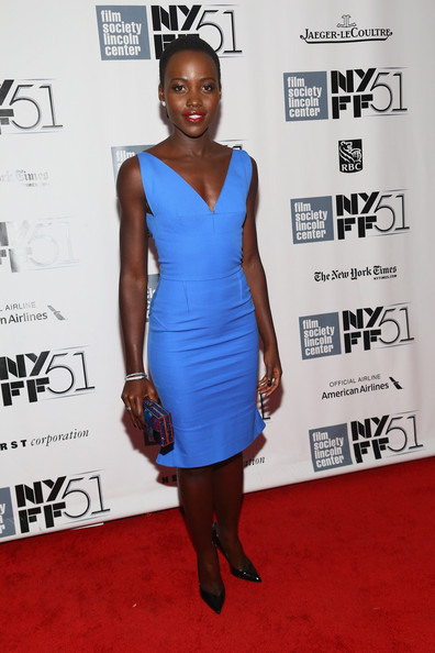 Lupita Nyong'o Cocktail Dress [12 years a slave,all is lost,cocktail dress,dress,clothing,carpet,shoulder,red carpet,cobalt blue,electric blue,fashion,joint,lupita nyongo,premieres - arrivals,nebraska,lincoln center,alice tully hall,new york city,new york film festival,premiere]