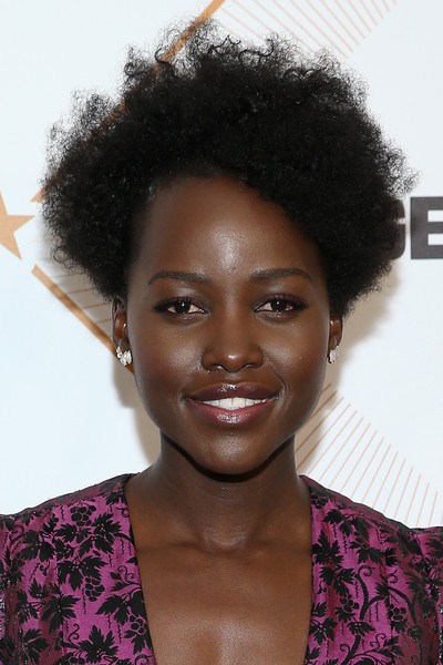 Lupita Nyong'o Short Curls [hair,hairstyle,face,afro,jheri curl,black hair,eyebrow,lip,s-curl,lace wig,lupita nyongo,arrivals,beverly hills,california,beverly wilshire four seasons hotel,essence 11th annual black women in hollywood awards gala]