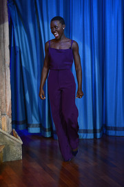Lupita Nyong'o was smart and sexy in a purple Cushnie et Ochs camisole during her appearance on 'Late Night with Jimmy Fallon.'