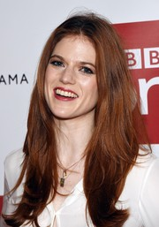 Rose Leslie attended the 'Luther' photocall wearing a center-parted hairstyle with flippy ends.