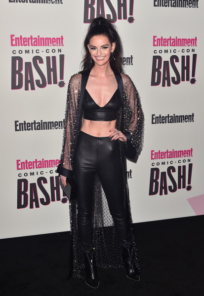 Lydia Hearst Studded Boots [clothing,magazine,fashion,leather,premiere,footwear,carpet,black hair,long hair,outerwear,entertainment weekly comic-con celebration - arrivals,lydia hearst,float,san diego,hard rock hotel,california,entertainment weekly,hbo,comic-con bash]