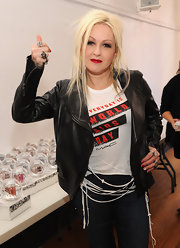 Cyndia Lauper wore a classic red nail polish with pale yellow applied to only her ring fingers while commemorating World AIDS Day.