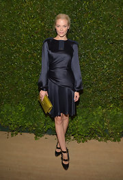Jaime King chose this navy dolman-sleeve dress that featured a draped waist and crystal epaulet detailing for her look at the 'Vogue' and MAC Cosmetics Dinner Party.