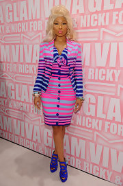 No stranger to bold fashion, Nicki Minaj accessorized her striped ensemble with cobalt blue platform sandals.