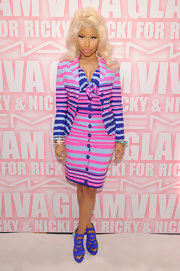 Nicki Minaj showed off her vibrant style in this striped dress and matching blazer for the MAC launch.