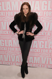 Coco Rocha donned black ankle boots for the MAC soiree in NYC.
