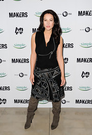 "A printed skirt spiced up America Olivio's evening look at the 'Makers: Women Who Make America"" premiere."