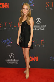 Sailor Brinkley Cook paired nude platform peep-toes with a little black dress for her Style Awards red carpet look.