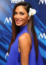 Nicole Scherzinger topped off her look with a pin-straight hairstyle when she attended the UK gala screening of 'Moana.'