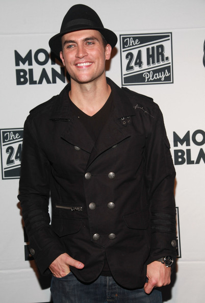 Cheyenne Jackson looked so snazzy in a black pea coat with metallic buttons.