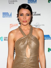Dannii Minogue brightened up her blue eyes with metallic copper and bronze shadows for the Melbourne Spring Fashion Week opening soiree.