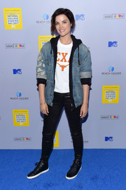 Jaimie Alexander was tomboy-chic in a distressed denim jacket while attending MTV's 2017 College Signing Day.