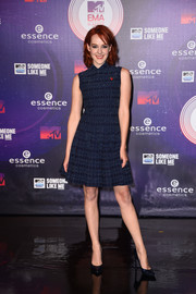 Jena Malone was conservative by MTV EMA standards in a patterned blue Alaia cocktail dress.