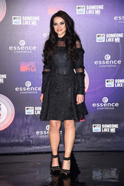 Amy Macdonald completed her look with embellished black ankle-cuff pumps that echoed the style of her dress.