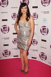 Ashley Rickards donned a metallic cocktail dress paired with embellished peep-toe pumps at the MTV EMA's.
