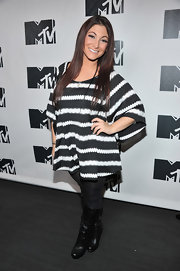 Deena Nicole Cortese struck a pose in a black-and-white blouse at MTV's 'Restore the Shore' benefit event.