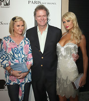 Kathy Hilton completed her ensemble at the screening of 'Paris, Not France' with a stylish blue clutch.