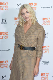 Ashley James attended the MTV Staying Alive Gala wearing a patterned coat styled with a Gucci leather belt.