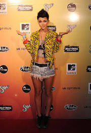 Ruby wore some studed fraying denim shorts to the Wet N Wild MTV Party.