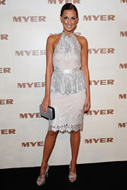 Laura Dundovic looked breathtaking in a silver and white lace halter dress with a peplum waist at the Myer Spring/Summer Collection launch.