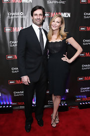 Actress Jennifer Westfeldt attended the 'Mad Men' season 4 finale screening wearing black Swarovski crystal hourglass heels.
