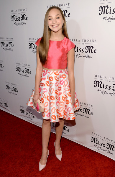 Maddie Ziegler Pumps [miss me,clothing,dress,red carpet,cocktail dress,premiere,carpet,hairstyle,pink,fashion,yellow,maddie ziegler,bella thorne,bella thorne hosts miss me and cosmopolitan,cosmopolitan,sunset tower hotel,los angeles,the terrace,spring campaign launch,spring campaign launch event]